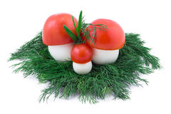 Mushrooms from tomatoes and eggs Royalty Free Stock Photos