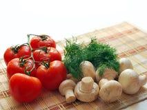 Mushrooms, Tomatoes, Greens Royalty Free Stock Photo
