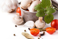 Mushrooms, tomatoes and mint Stock Image