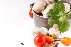 Mushrooms, tomatoes and mint Royalty Free Stock Images