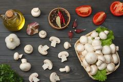 mushrooms with tomatoes, parsley, oil, garlic, chili pepper, peppercorns on dark wooden background. top view Royalty Free Stock Images