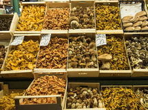 Mushrooms at market stall Royalty Free Stock Images