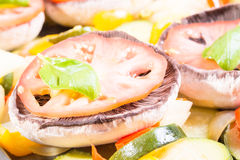 Mushrooms with vegetables ready to roast Stock Photography