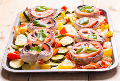 Mushrooms with vegetables ready to roast Stock Images