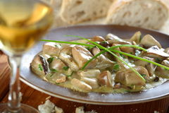 Mushrooms with white wine Stock Images