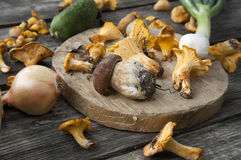 Mushrooms. Wild mushrooms on a wood table Stock Photo