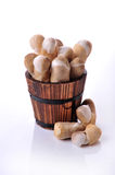 Mushrooms in a wood basket Royalty Free Stock Photos