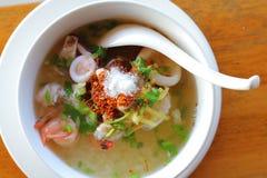 Mushskaldjur kokade den havs- läckra frukosten Thailand fo för ris Arkivfoton