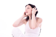 Music. Girl with headphones Royalty Free Stock Photos