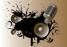 Music. Microphone and speaker on grunge banner Stock Photo