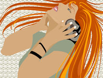 Music. Dancing girl with headphones Royalty Free Illustration