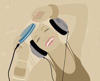 Music. Young beautiful girl listen to the music Stock Illustration