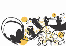 Music. Illustration of headphones and musicians Royalty Free Stock Photo