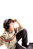 Music. A teen boy and music royalty free stock images