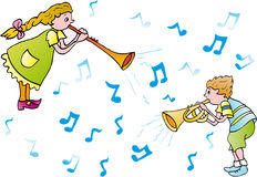 Music. Children playing trumpets and musical notes Stock Photo