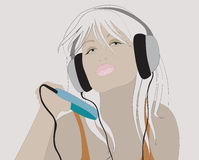 Music. Young girl with player listen to the music Royalty Free Illustration