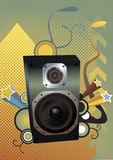Music. Vector illustration of speaker with design in background Stock Photo