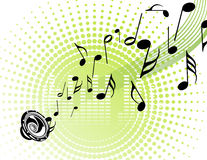 Music. Notes, sound, green wave, urban style Royalty Free Stock Images