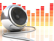 Music. 3d illustration of modern audio speaker with music spectrum at background Royalty Free Stock Image