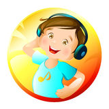 Music. Illustration of a happy boy listening to music Stock Photos