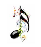 Music. Multi-colored musical notes and staff swirling around a sixteenth note Royalty Free Stock Photography