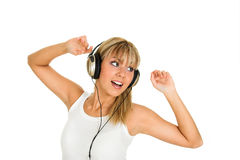 Music. Young girl with headphones. Music concept Stock Photos
