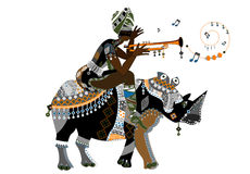 Music. Woman on the back of a rhino calls his tribe music flute Royalty Free Stock Photo