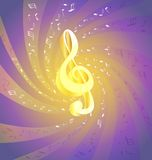 Music. On an abstract background of flying music big golden treble clef stock illustration