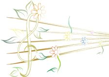 Music. A musical notation with colorful flower Royalty Free Illustration
