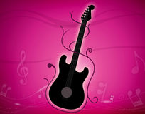 Music. An illustration of a guitar with the waves of music Royalty Free Stock Photography
