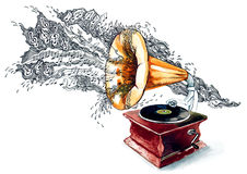 Music. Retro gramophone playing beautiful music stock illustration