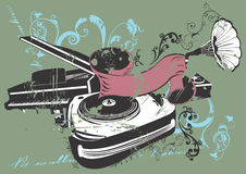 Music. Illustration of retro turntables and a piano vector illustration