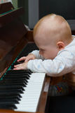 Music. Little child playing on the piano Stock Image