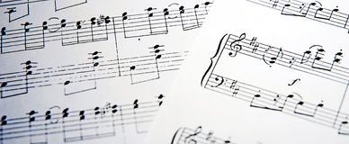 Music. Notes on white background Stock Photos