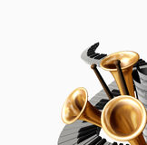 Music. The abstract music  illustration with piano,  drumstick and trumpet ( Moonlight sonata, Beetchowen Royalty Free Stock Photo
