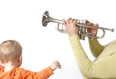 Music. Father and the son Royalty Free Stock Images