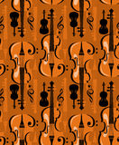 Music. Seamless background with violins and musical symbols Stock Photography