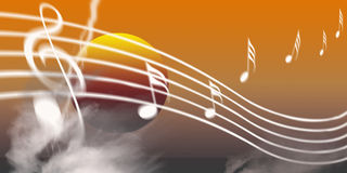 Music. An image showing a musical dawn with musical notes over the top, internet music world Stock Image