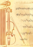 Music. Abstract vintage music background with violin Royalty Free Stock Photography