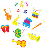 Music. Children's illustration and clip-arts for your design Royalty Free Stock Photo
