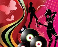 Music. Illustration of young people dancing Stock Photography