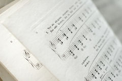Music. Close up of an antique music sheets Stock Images