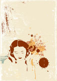 Music. A stylized illustration of a  Girl listening to music on headphones. Vector illustration Stock Photography