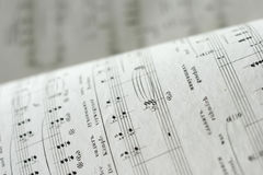 Music. Close up of an antique music sheets Royalty Free Stock Image