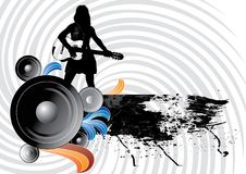 Music. Silhouette of girl with guitar and speaker on grunge banner Stock Images
