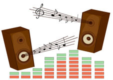 Music. The vector image of musical acoustic system. Music, a sound, loudness Stock Photo