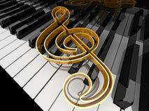 Music. Symbol  on piano keys Royalty Free Stock Photography