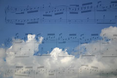 Music. Blue sky with music notes Stock Photography