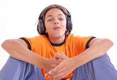 Music. Boy with headphones Royalty Free Stock Photos