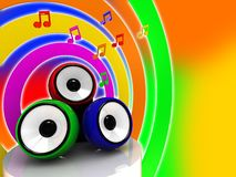 Music. Abstract 3d illustration of colorful sound system and music signs vector illustration